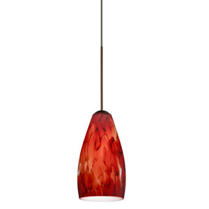 Karli Bronze Halogen Mini Pendant with Flat Canopy and Garnet Glass