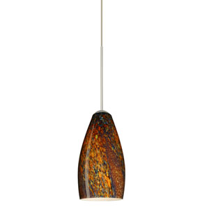 Karli Satin Nickel Halogen Mini Pendant with Flat Canopy and Ceylon Glass