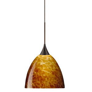 Sasha Bronze Halogen Mini Pendant with Flat Canopy and Amber Cloud Glass