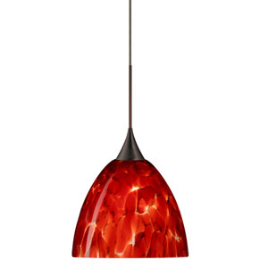 Sasha Bronze LED Mini Pendant with Flat Canopy and Garnet Glass