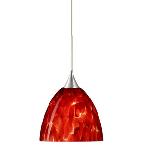 Sasha Satin Nickel LED Mini Pendant with Flat Canopy and Garnet Glass
