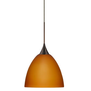Sasha Bronze Halogen Mini Pendant with Flat Canopy and Amber Matte Glass