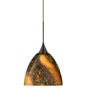 Sasha Bronze Halogen Mini Pendant with Flat Canopy and Ceylon Glass