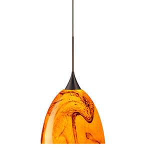 Sasha Bronze Halogen Mini Pendant with Flat Canopy and Habanero Glass