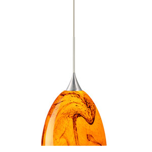 Sasha Satin Nickel Halogen Mini Pendant with Flat Canopy and Habanero Glass