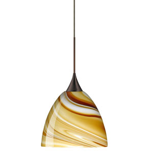 Sasha Bronze Halogen Mini Pendant with Flat Canopy and Honey Glass