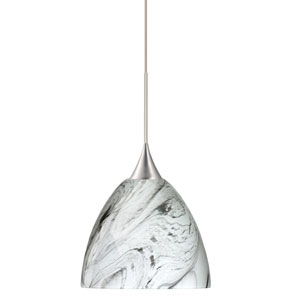 Sasha Satin Nickel Halogen Mini Pendant with Flat Canopy and Marble Grigio Glass