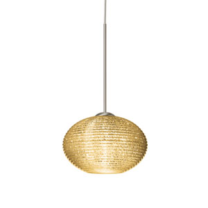 Lasso Satin Nickel One-Light LED Mini Pendant with Gold Glitter Glass