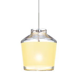 Pica 6 Satin Nickel One-Light LED Mini Pendant with Creme Sand Glass