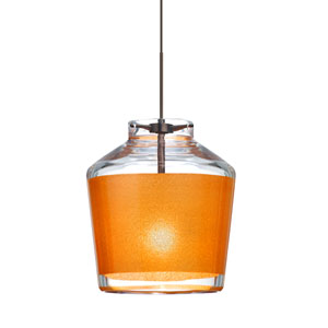 Pica 6 Bronze One-Light LED Fixed-Connect Mini Pendant with Gold Sand Glass