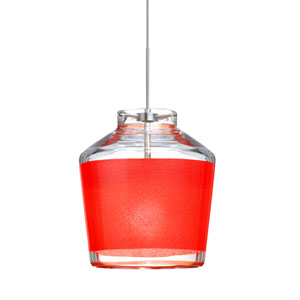 Pica 6 Satin Nickel One-Light LED Mini Pendant with Red Sand Glass