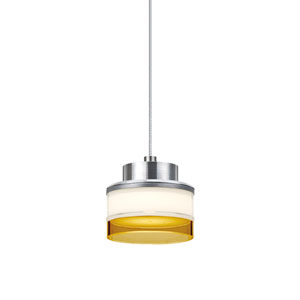 Pivot Satin Nickel 3.One-Light LED Mini Pendant with Opal Glossy and Amber Glass