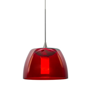Spur Satin Nickel One-Light LED Mini Pendant with Red Shade