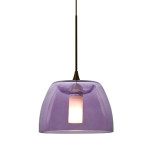 Spur Bronze One-Light LED Mini Pendant with Plum Shade