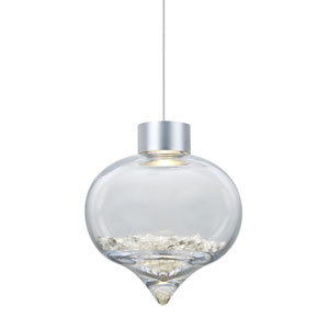 Terra Satin Nickel One-Light LED Mini Pendant with Clear Crystals Shade