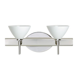 Domi Chrome Two-Light Bath Fixture with White Glass