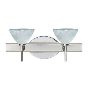 Domi Chrome Two-Light Bath Fixture with Marble Glass