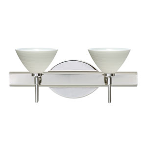 Domi Chrome Two-Light Bath Fixture with Chalk Glass
