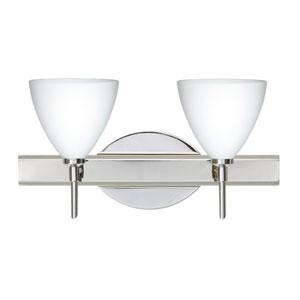 Mia Chrome Two-Light Bath Fixture with Opal Matte Glass