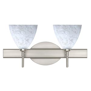 Mia Satin Nickel Two-Light Bath Fixture with Carrera Glass