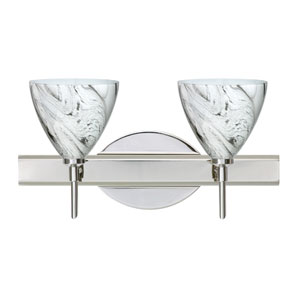 Mia Chrome Two-Light Bath Fixture with Marble Grigio Glass