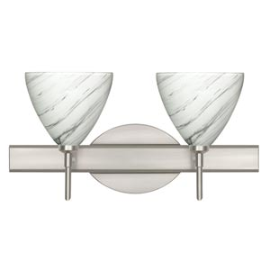 Mia Satin Nickel Two-Light Bath Fixture with Marble Grigio Glass