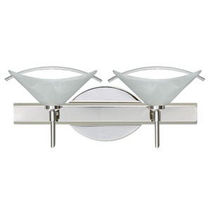 Hoppi Chrome Two-Light Bath Fixture with Marble and Clear Glass