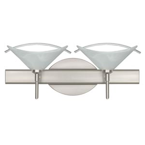 Hoppi Satin Nickel Two-Light Bath Fixture with Marble/Clear Glass