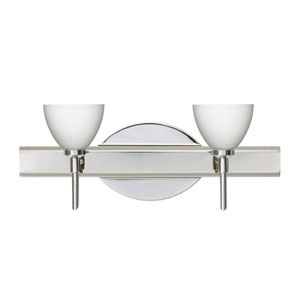 Divi Chrome Two-Light Bath Fixture with Opal Matte Glass