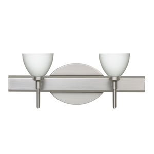 Divi Satin Nickel Two-Light Bath Fixture with Opal Matte Glass