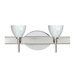 Divi Chrome Two-Light Bath Fixture with Carrera Glass