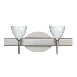 Divi Satin Nickel Two-Light Bath Fixture with Carrera Glass