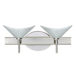 Hoppi Chrome Two-Light Bath Fixture with Marble Glass
