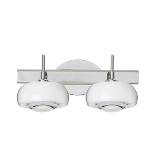Focus Chrome Two-Light Bath Fixture with Clear Glass