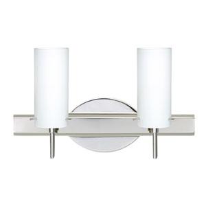 Copa Chrome Two-Light Bath Fixture with Opal Matte Glass
