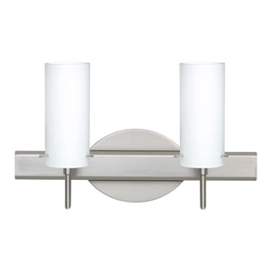 Copa Satin Nickel Two-Light Bath Fixture with Opal Matte Glass