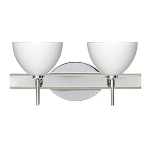 Brella Chrome Two-Light Bath Fixture with White Glass