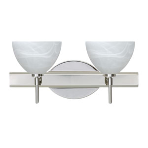 Brella Chrome Two-Light Bath Fixture with Marble Glass