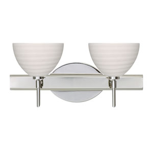 Brella Chrome Two-Light Bath Fixture with Chalk Glass