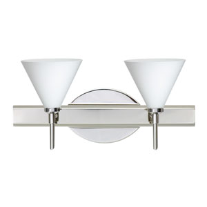 Kani Chrome Two-Light Bath Fixture with Opal Matte Glass