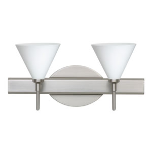 Kani Satin Nickel Two-Light Bath Fixture with Opal Matte Glass