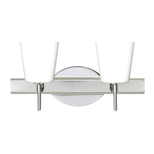 Canto Chrome Two-Light Bath Fixture with Opal Matte Glass