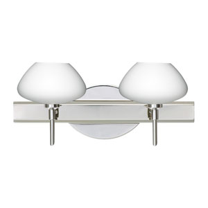 Peri Chrome Two-Light Bath Fixture with Opal Matte Glass