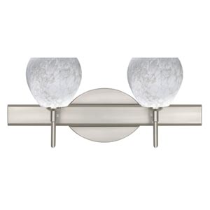 Tay Tay Satin Nickel Two-Light Bath Fixture with Carrera Glass