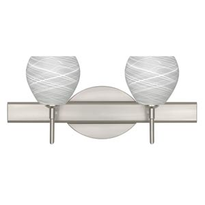 Tay Tay Satin Nickel Two-Light Bath Fixture with Cocoon Glass