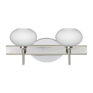 Lasso Chrome Two-Light Bath Fixture with Opal Matte Glass