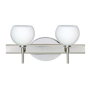 Palla Chrome Two-Light Bath Fixture with Opal Matte Glass
