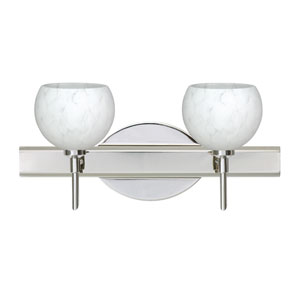 Palla Chrome Two-Light Bath Fixture with Carrera Glass