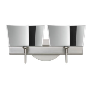 Groove Satin Nickel Two-Light LED Bath Vanity with Mirror-Frost Glass
