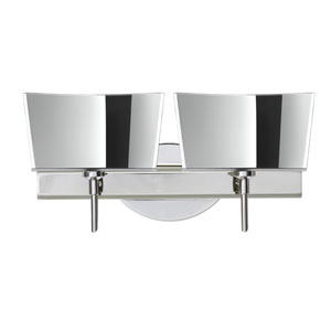 Groove Chrome Two-Light Bath Fixture with Mirror-Frost Glass